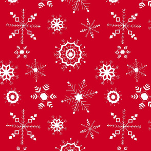 snowflakes large white on red