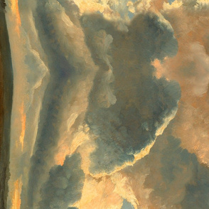 Painting: Study of Clouds with a Sunset Near Rome, a painting by Simon Alexandre Clément Denis