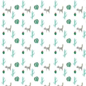Coyote Cactus Pattern