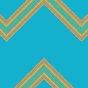 Orange and Green Chevron on Blue