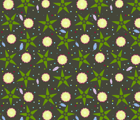 feathers in the moss fabric by keweenawchris on Spoonflower - custom fabric