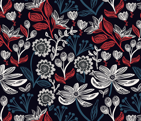 Red White & Blue Floral fabric by susan_polston on Spoonflower - custom fabric
