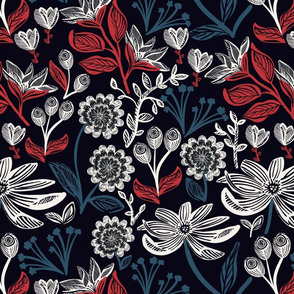 Red White & Blue Floral