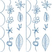 floral doodle blue - medium