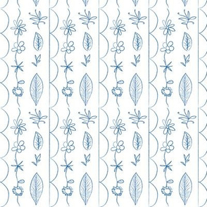 floral doodle blue - small