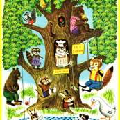 vintage retro kitsch trees houses animals birds bears ice-cream foxes geese ducks dogs rabbits ponds pool cats kittens racoons squirrels bunny cats