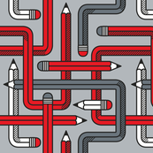 Pencil Maze Pattern multi red grey