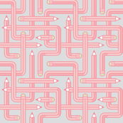 Pencil Maze Pattern pastel pink grey small