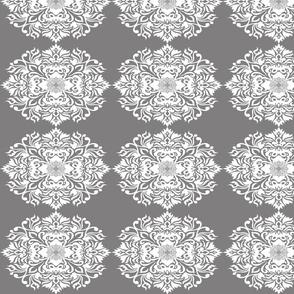Damask Gray on White