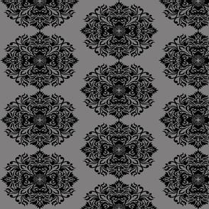 Damask Black on Gray