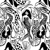 Mermaid Black and White