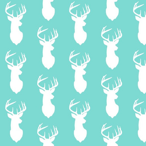 deer silhouette with aqua background