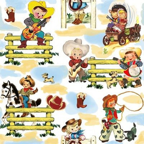 Sunday on the Ranch on white Cowboy Cowgirl Horse Fabric Paris Bebe