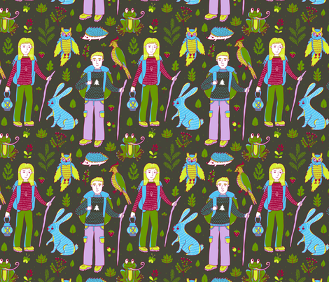 Forest hiking fabric by sky_lantern on Spoonflower - custom fabric