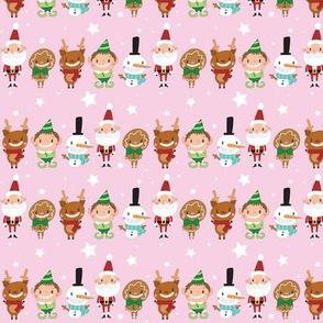 Christmas Crew - Pink - Line - Small
