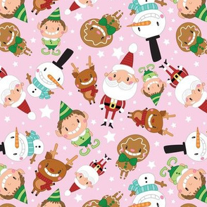 Christmas Crew - Pink - Scattered - Large
