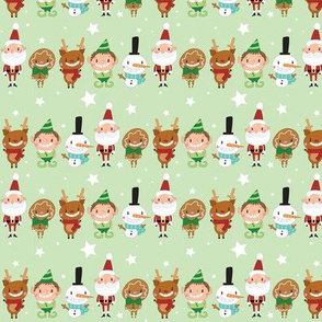 Christmas Crew - Green - Line - Small