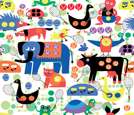 GRAND SLAM ANIMALS fabric by deeniespoonflower on Spoonflower - custom fabric