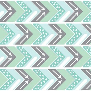 Mint, Grey, White Arrow Chevron - Triangles and Arrows-rotated
