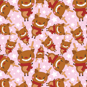 Christmas Crew - Reindeer - Pink - Medium