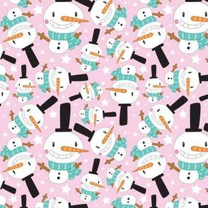 Christmas Crew - Snowman - Pink - Medium