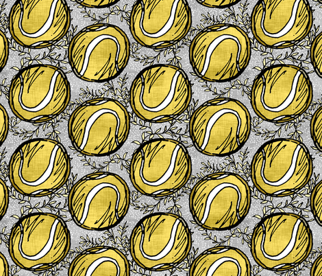 Yellow Tennis Balls on Linen fabric by pond_ripple on Spoonflower - custom fabric