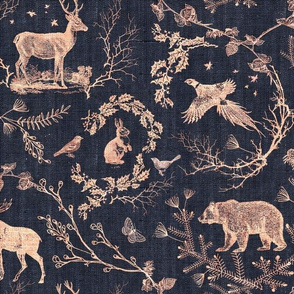 Woodland Winter Toile (in  Licorice)