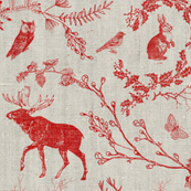 Woodland Winter Toile (in Cranberry)