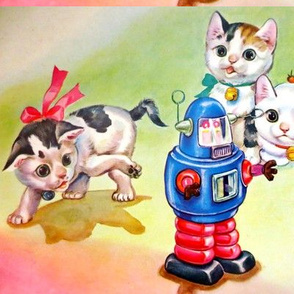 vintage kids retro kitsch kittens cats playing robots tin mechanical wind up children toys whimsical
