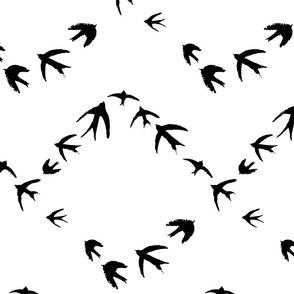 Black Birds Geometric Repeat