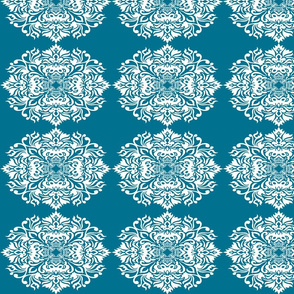 Damask White on Teal