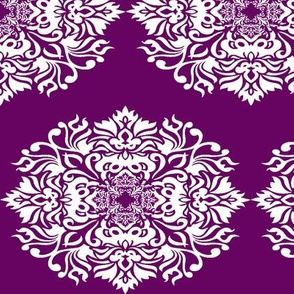 Damask White on Plum