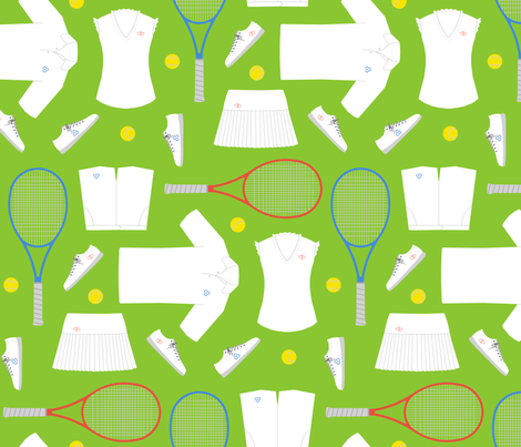 mixed doubles tennis - grass court fabric by victorialasher on Spoonflower - custom fabric