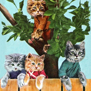 vintage retro kitsch cats kittens birds sky clouds children nursery children toddlers trees  fence Anthropomorphic fairy tales seamless border