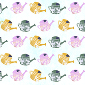 Watering Cans in Green and Lavender
