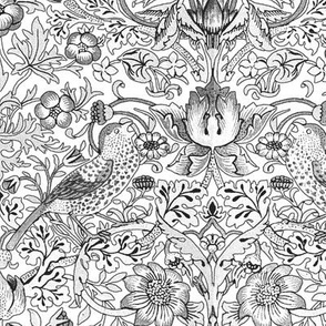 William Morris ~ Strawberry Thief ~ Black and White