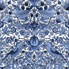 William Morris ~ Strawberry Thief ~ Blue and White