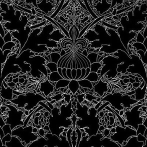 William Morris ~ Growing Damask ~ Black and White
