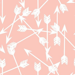 arrows scattered // pale pink pastel pink baby nursery arrows print