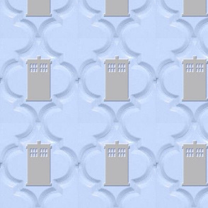Moroccan Tile Police Box blue gray