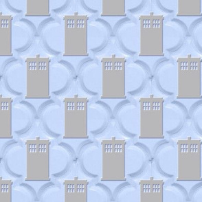 Moroccan Tile Police Box blue grey 2