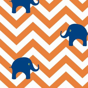 Baby Elephants in Tangerine and Navy