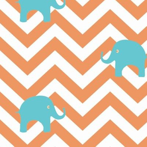 Baby Elephants in Aqua and Tangerine