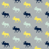 Multi Moose // grey/mint/navy/yellow