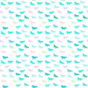 Pastel Blue Green Unicorn Stampede