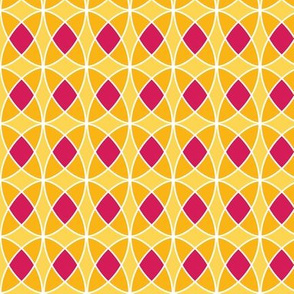 seventies abstract in yellow and orange and fuchsia
