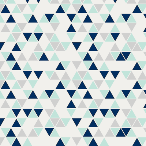 Triangles, mint, navy and gray--reduced scale fabric by trizzuto on Spoonflower - custom fabric
