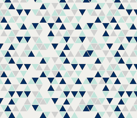Triangles, mint, navy and gray fabric by trizzuto on Spoonflower - custom fabric
