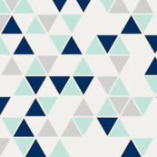 Triangles, mint, navy and gray