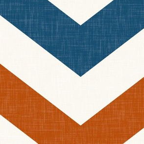 Bold Chevron in Rust and Blue Linen